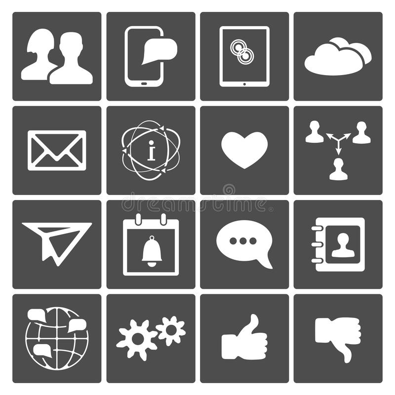 Sociale Geplaatste Pictogrammen vector illustratie