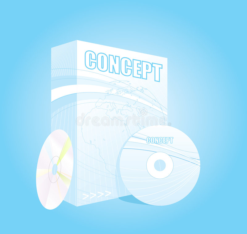 Vector Software. An illustration of a software pack with its CDs stock illustration