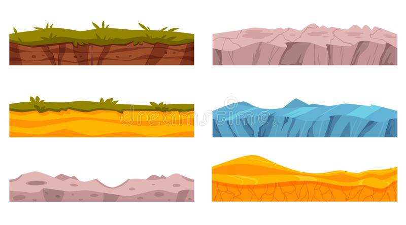 Vector soil ground layers with grass surface vector illustration