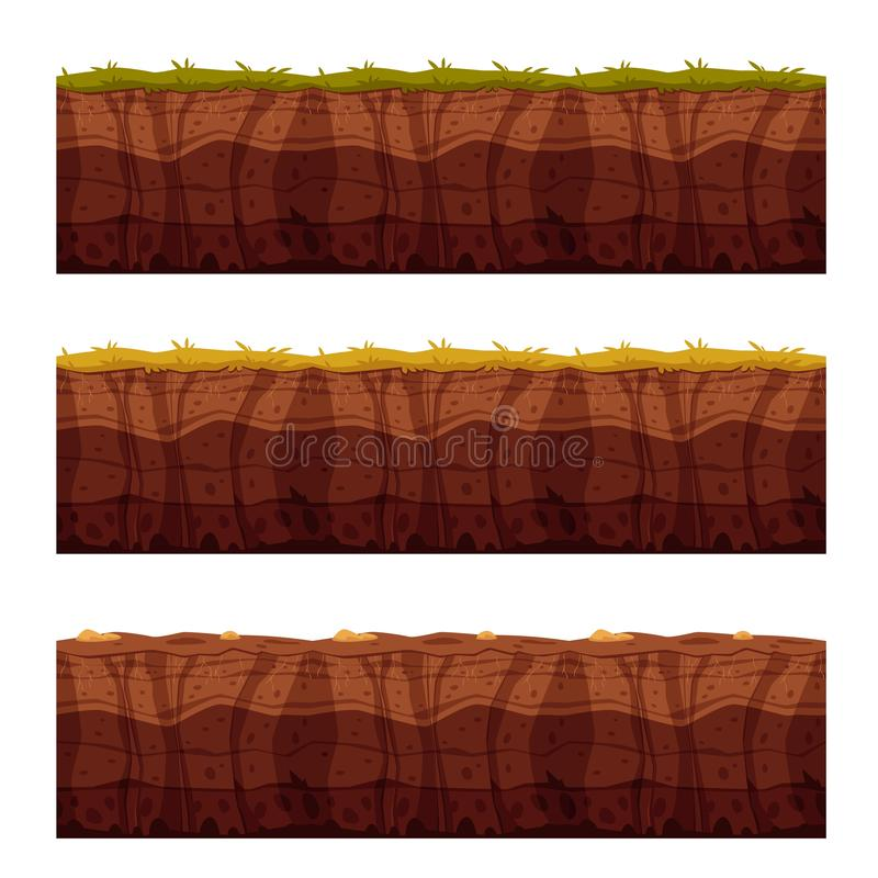 Vector soil ground layers with grass surface stock illustration
