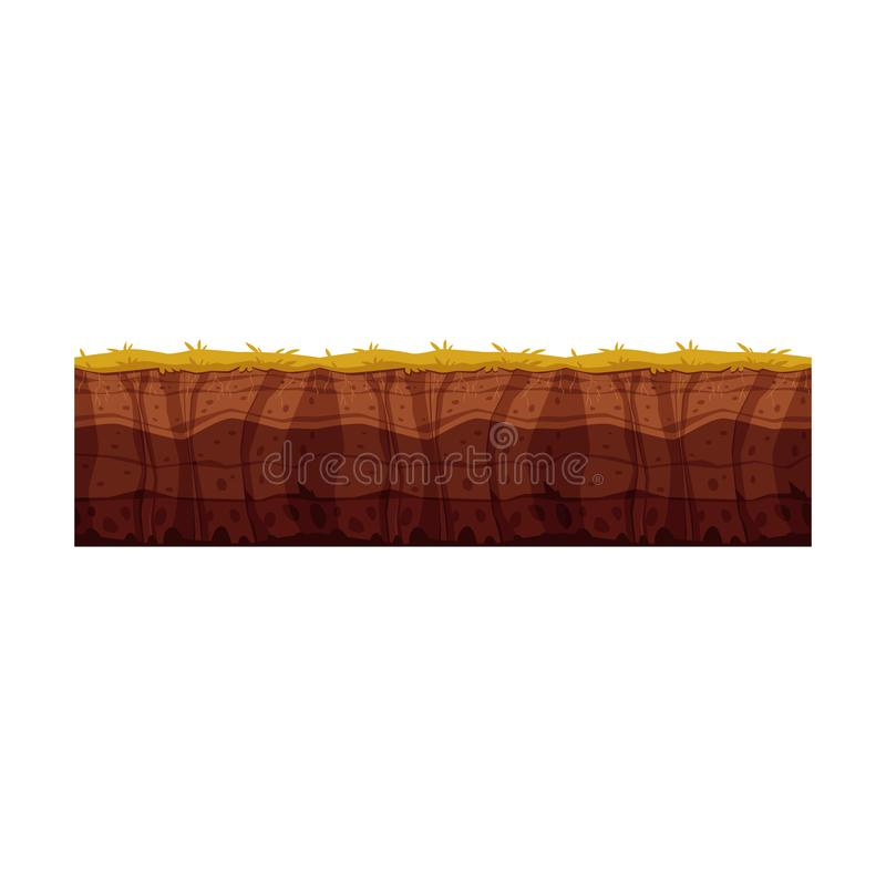 Vector soil ground layers with grass surface. Vector soil ground layers with grass, underground texture. Subterranean landscape for game map design. Layered royalty free illustration