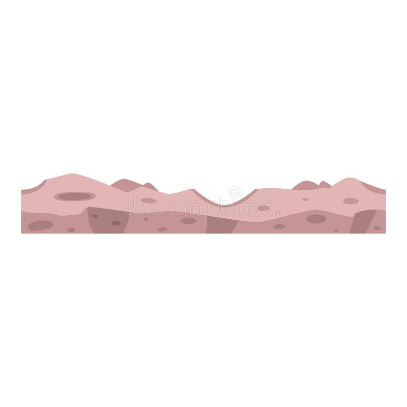 Vector soil ground layers with grey rock surface. Vector soil ground layers with grey rocks, underground texture. Subterranean landscape for game map design vector illustration