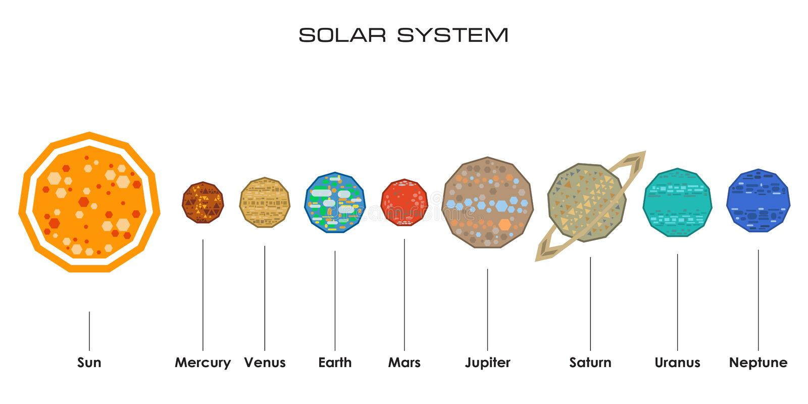 Vector solar system with planets stock vector illustration of flat concept of the solar system from simple shapes on white background ccuart Image collections