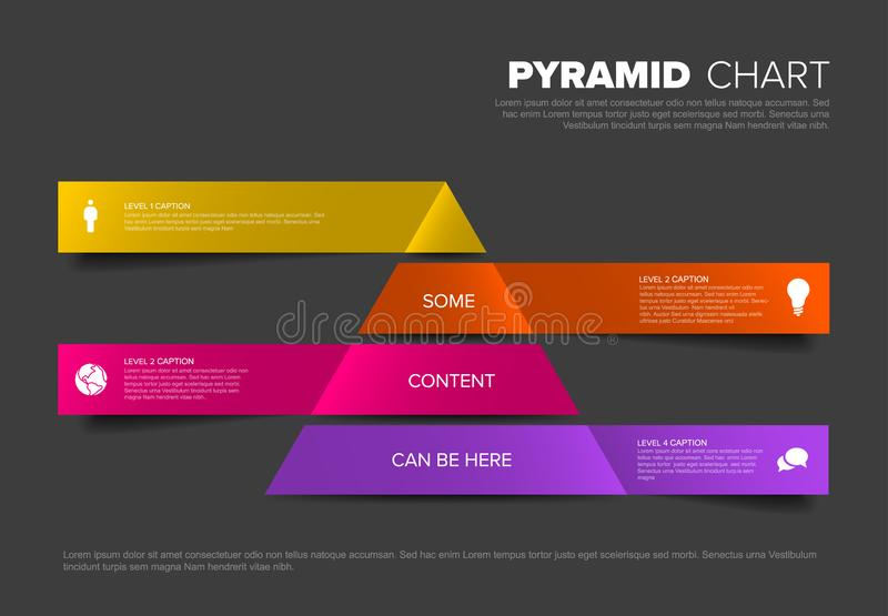Vector Infographic Pyramid chart diagram template. Vector solid Infographic Pyramid chart diagram template with icons - dark red colors royalty free illustration