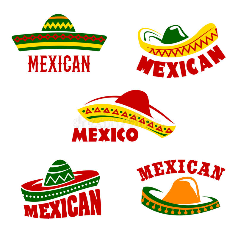 Vector sombrero icons Mexican cuisine restaurant stock illustration