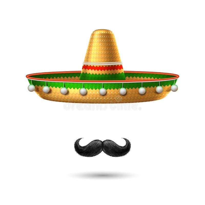 Vector sombrero mexican hat mustache cinco de mayo. Sombrero realistic mexican hat mustache. 3d cinco de mayo festival holiday celebration object. Spanish latin stock illustration