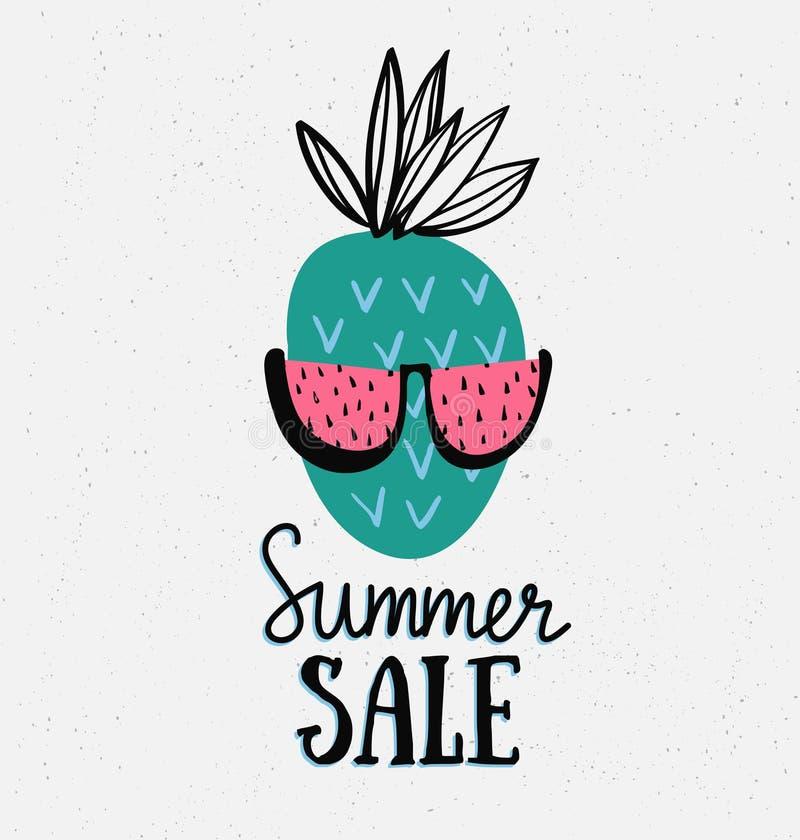 Vector Sommerhintergrund mit Hand gezeichneter Ananas mit Sommerschlussverkauf schriftlicher Text der Wassermelonensonnenbrille u stock abbildung