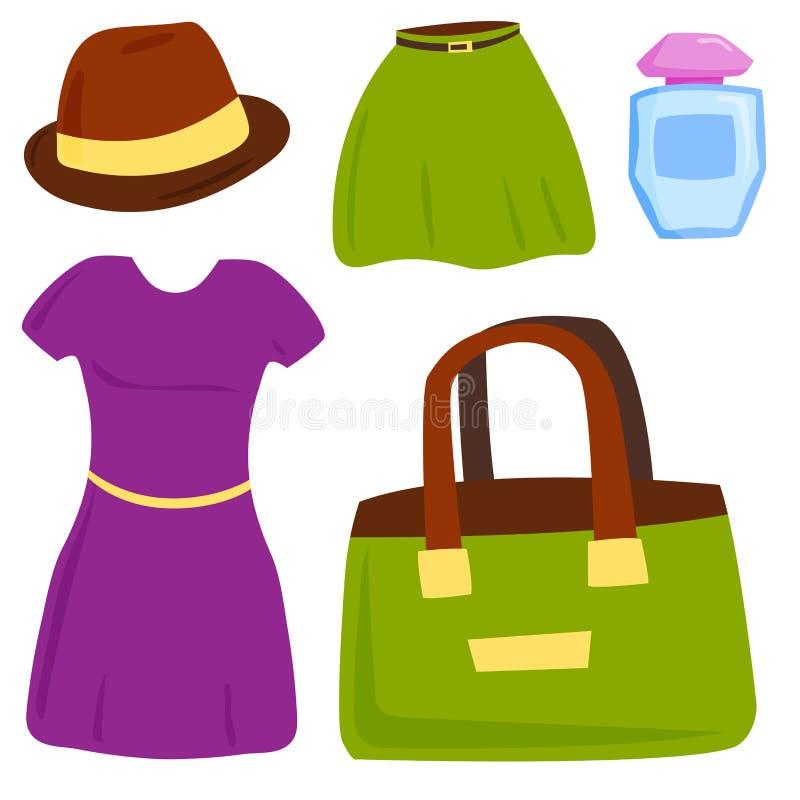 Vector Sommermädchenkleidung und Zubehör lokalisierte Einkaufseinzelteile und schönen Stoff stock abbildung