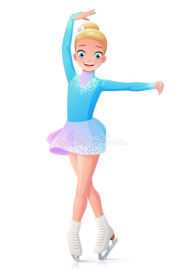 Vector sonriente lindo patinaje artístico la chica joven en el hielo ilustración del vector