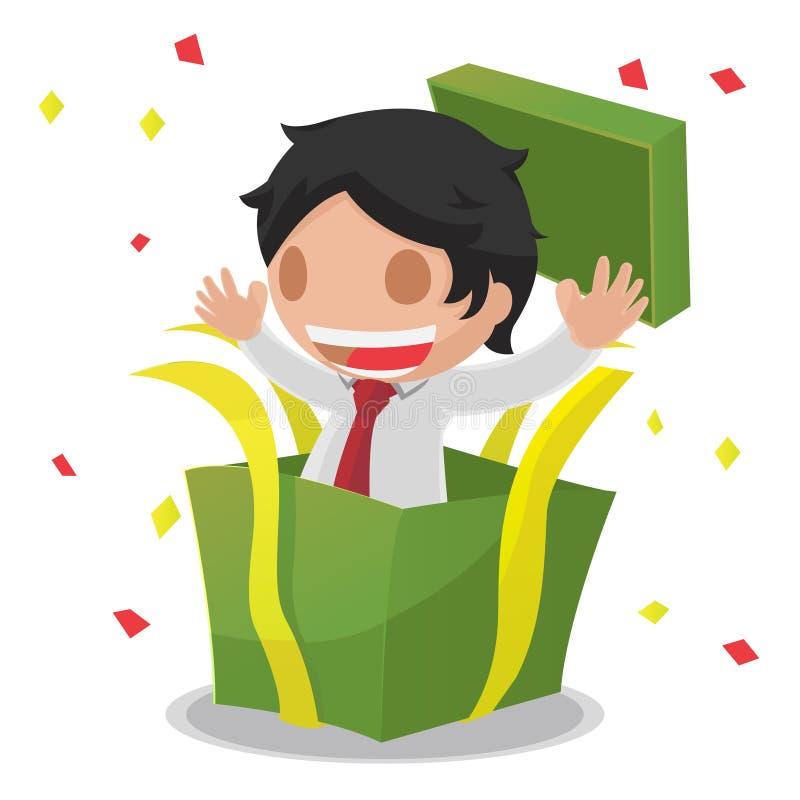 Vector sorprendido abierto de la caja de regalo del hombre libre illustration