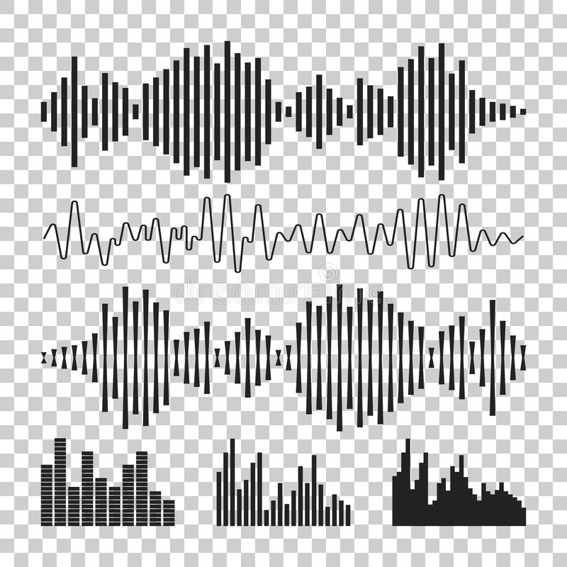 Vector sound waveforms icon. Sound waves and musical pulse vector illustration on isolated background. royalty free illustration