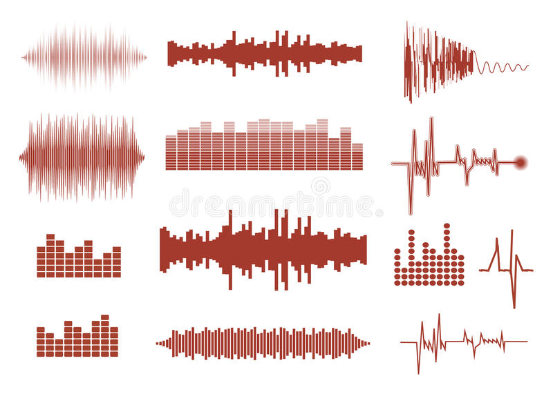 Vector sound waves set. Audio equalizer technology, pulse musical. stock illustration