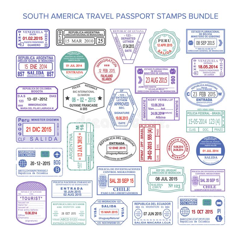 Vector South America colour travel visa stamps set vector illustration