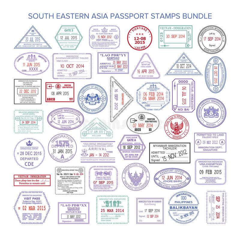 Vector south eastern asia color travel visa stamps bundle.  royalty free illustration