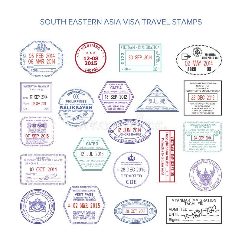 Vector south eastern asia color travel visa stamps set.  royalty free illustration