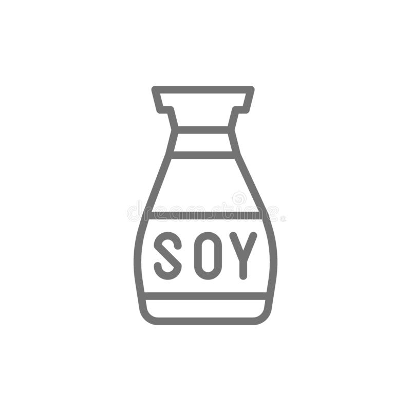 Vector soy sauce, asian seasoning line icon. Symbol and sign illustration design. Isolated on white background royalty free illustration