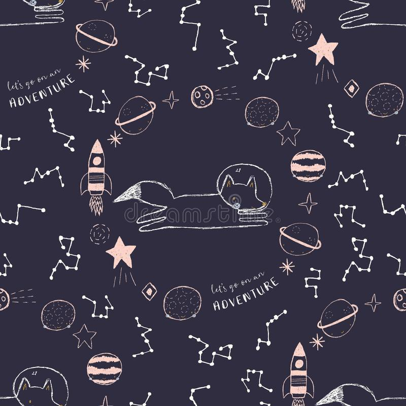 Vector space adventure seamless pattern with a fox astronaut, planets, stars, constellations and planets royalty free illustration