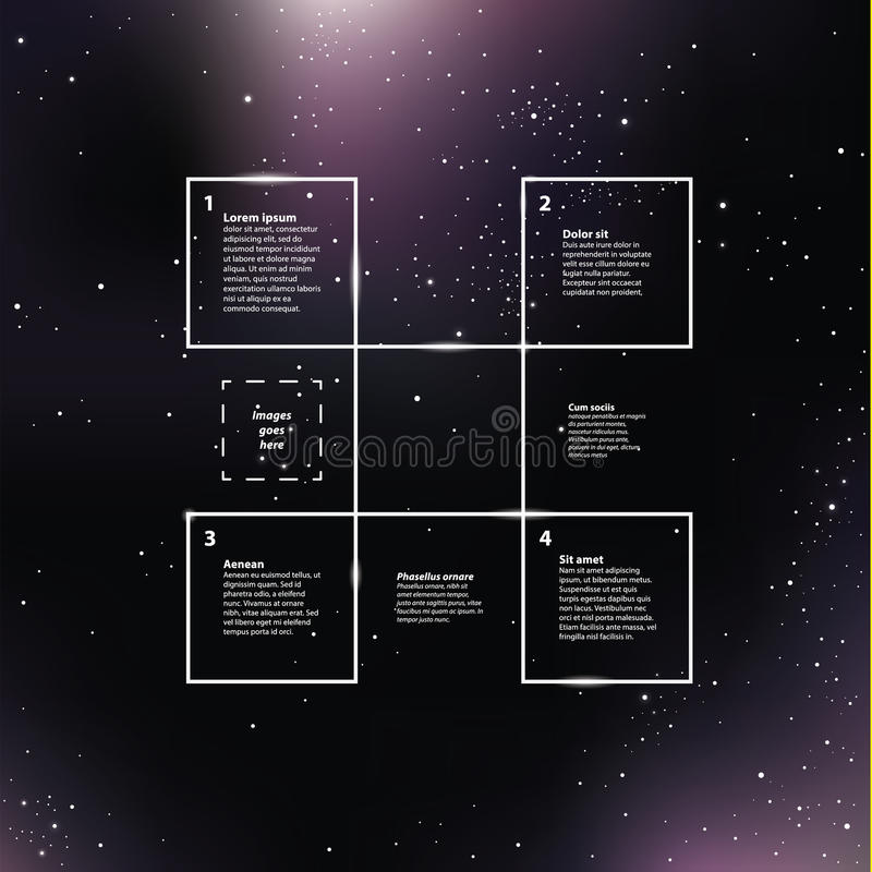 Vector space background. Purple galaxies with shining stars. Creative vector template stock illustration