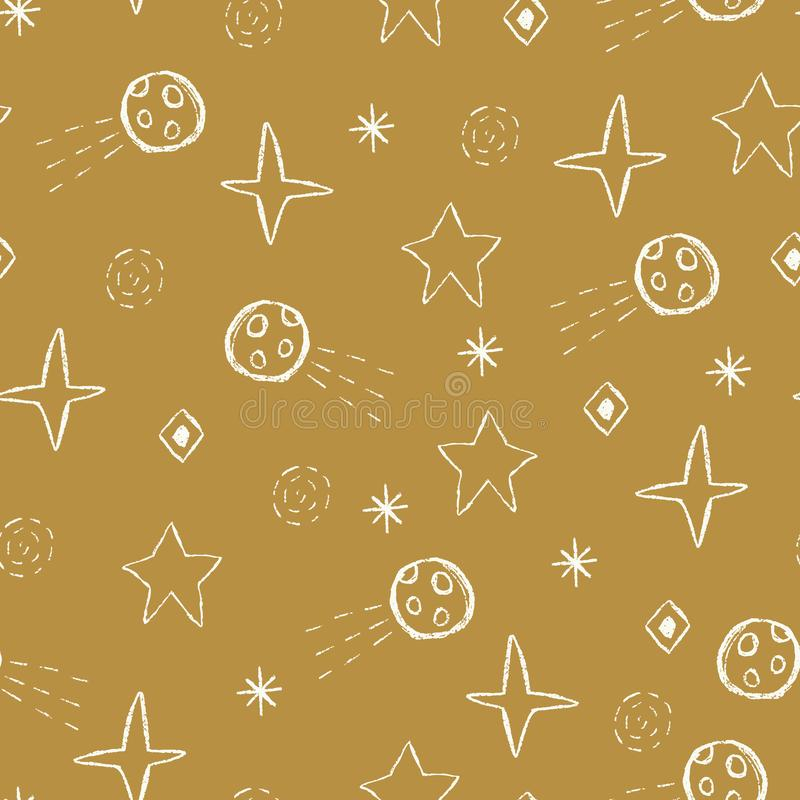 Vector space doodles,stars, comets, asteroids seamless repeat pattern royalty free illustration