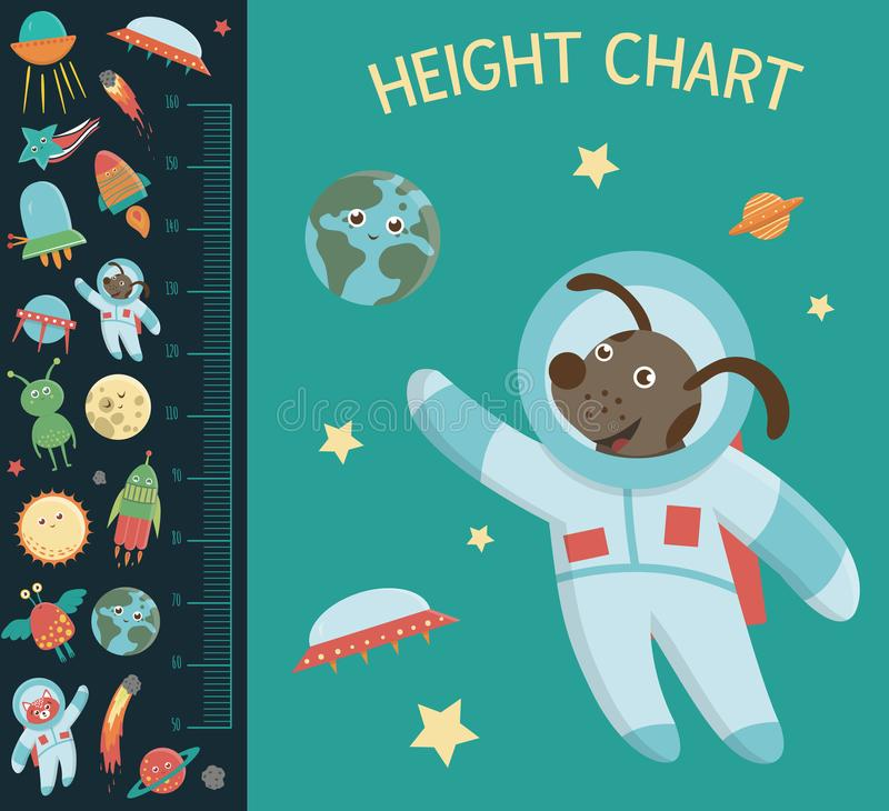 Vector space height chart. Picture with cosmic elements for children. Measurement Scale with ufo, planet, royalty free illustration