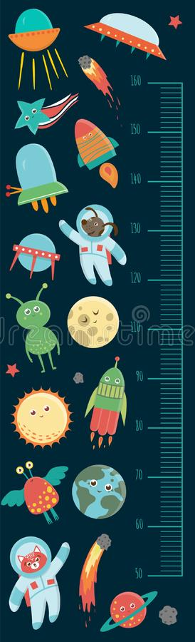 Vector space height chart stock illustration