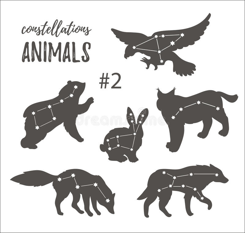 Vector space set with cosmic animals. Hand drawn silhouettes of animals in hipster style. vector illustration