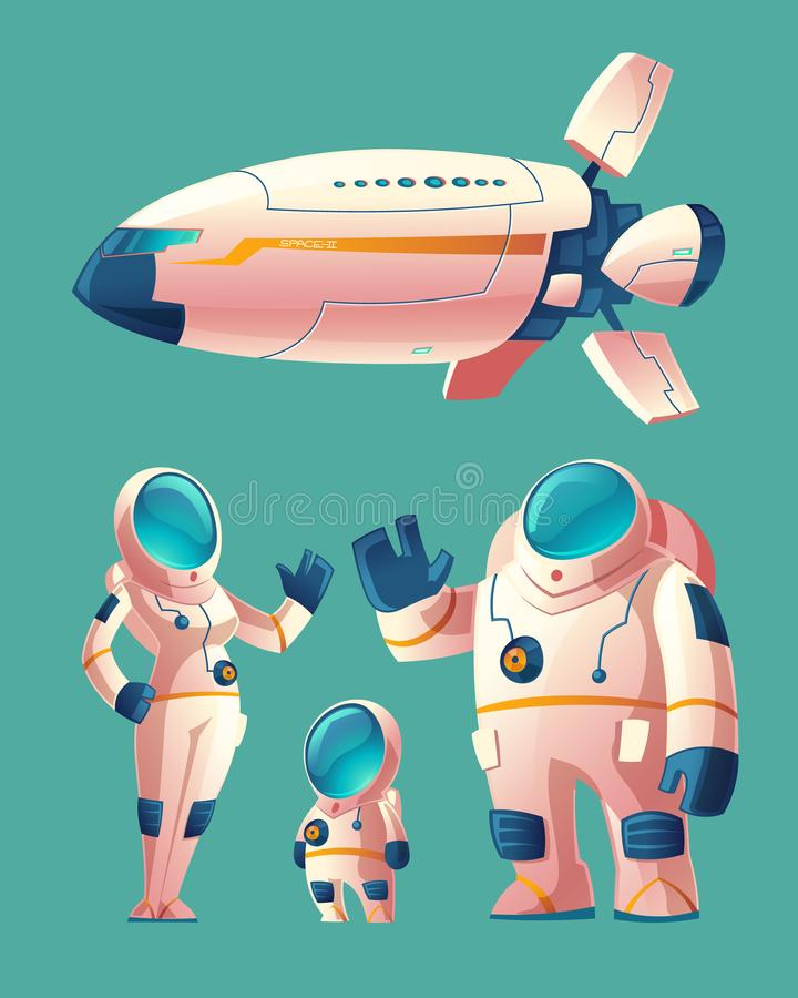 Vector spaceman family in spacesuit with spaceship stock illustration