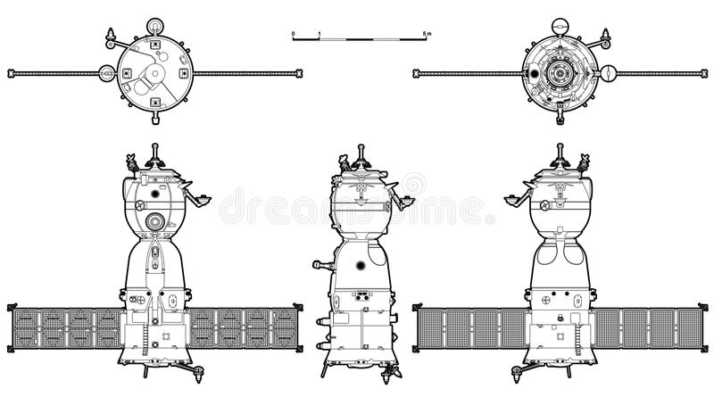 Vector spaceship. Vector hi-detailed spaceship Soyuz TMA. Available ai-10 format separated by groups for easy edit stock illustration