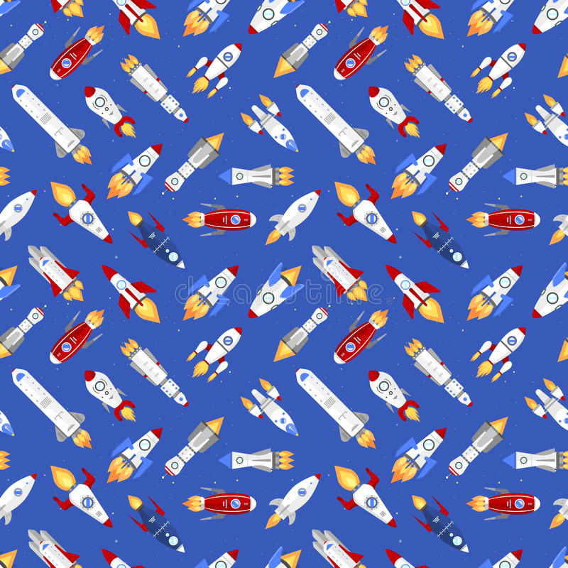 Vector spaceship technology ship rocket space vehicle shuttle cartoon seamless pattern background royalty free illustration