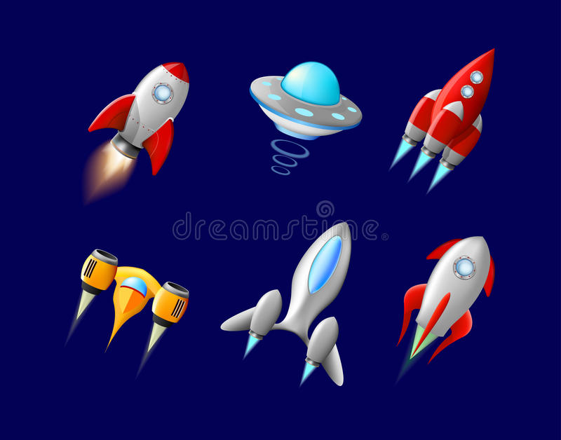Vector spaceship and UFO vector set in cartoon style. Rocket and spacecraft, futuristic transportation, collection ship. Illustration. Alien spaceship royalty free illustration