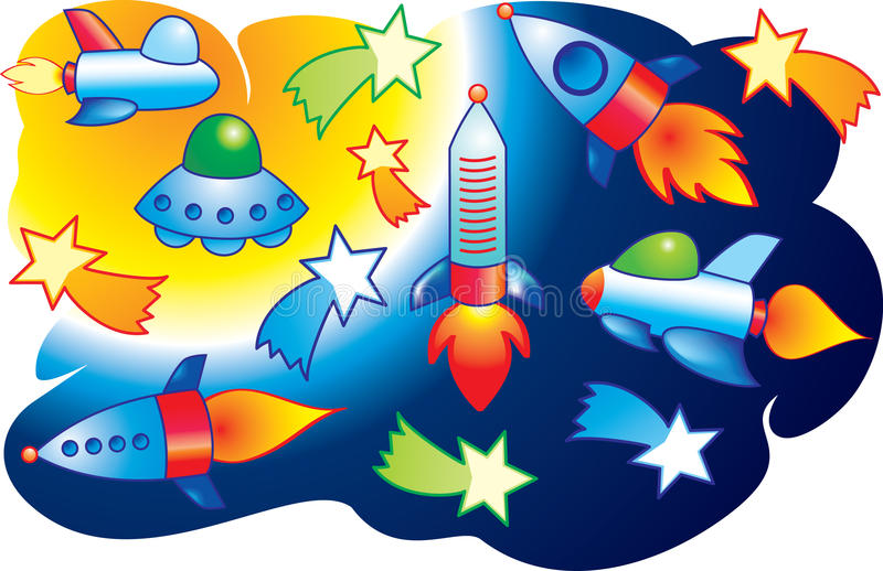 Vector spaceships and stars flying into space. Spaceships and stars flying into space vector illustration