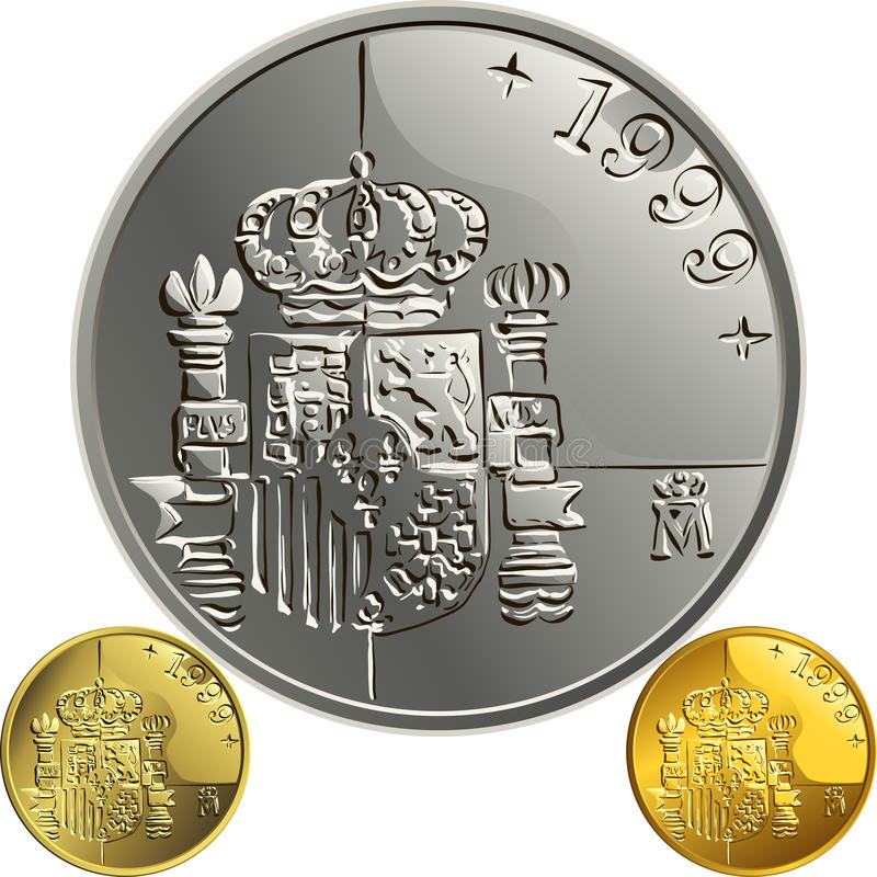 Vector Spanish money gold and silver coin one pes stock image