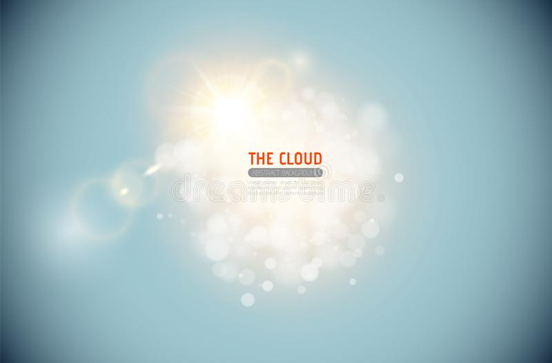 Vector sparkling cloud with shining lens flare light effect on blue sky background. Glowing center headline place. Abstract light vector illustration