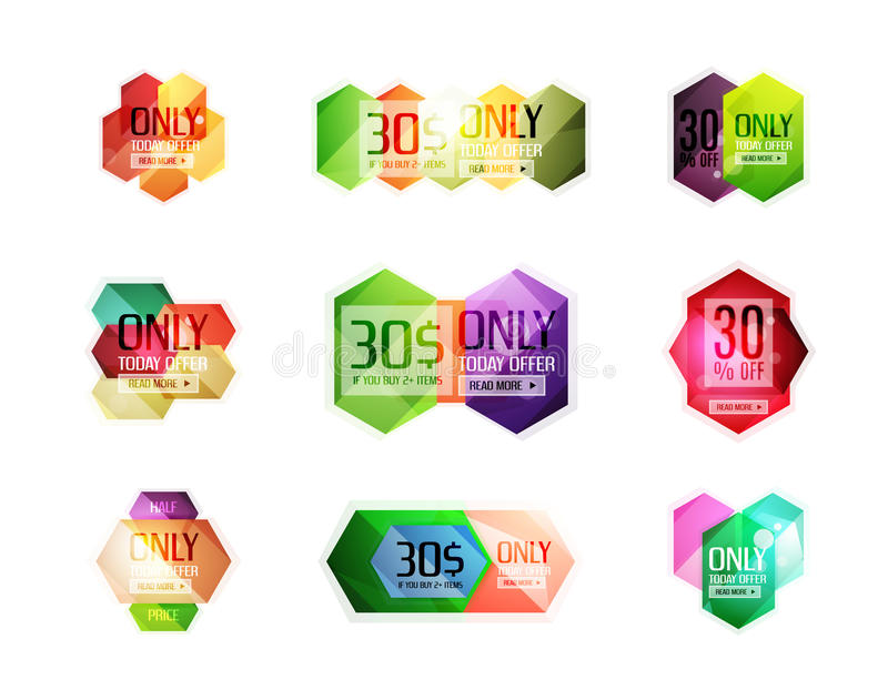 Vector special offer stickers and banners. Sale tags, labels or advertising special offer templates. Icon set royalty free illustration
