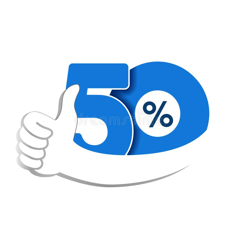 Vector special sale offer. Blue tag with best choice. Discount offer price label with hand gesture. Sticker of 50 % off. Illustration vector illustration