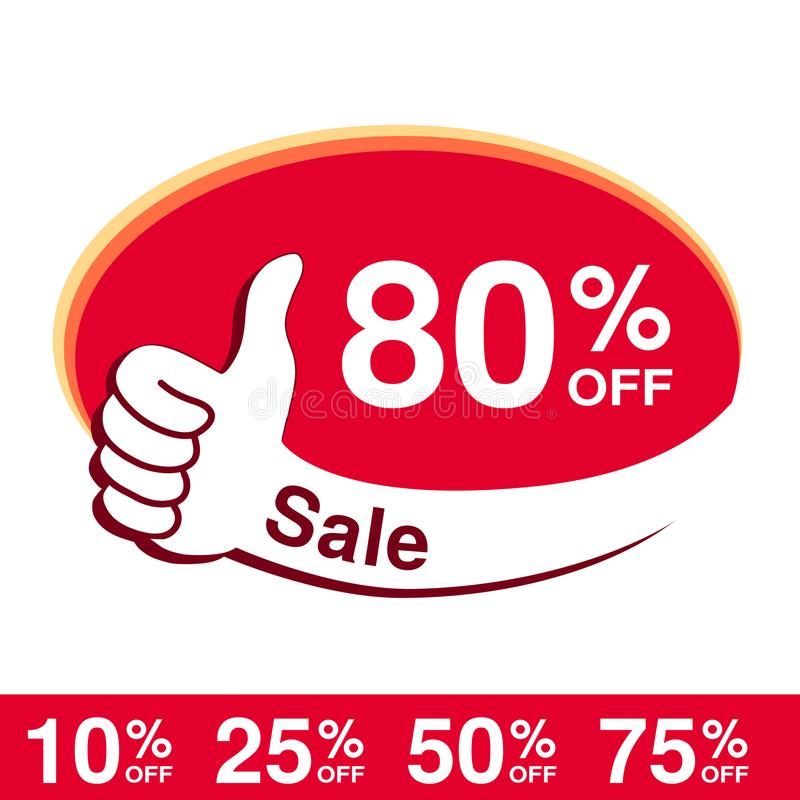 Vector special sale offer. Red tag with best choice. Discount offer price label with hand gesture. Sticker of 80 % off. stock illustration