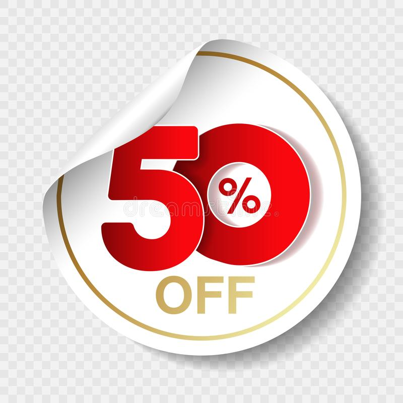Vector special sale offer. White tag with red 50 % off. Discount offer price label. Circular sticker, coupon. stock illustration