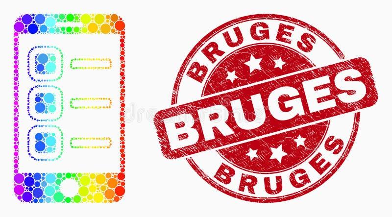 Vector Spectral Dot Smartphone Tasks Icon and Distress Bruges Stamp Seal vector illustration