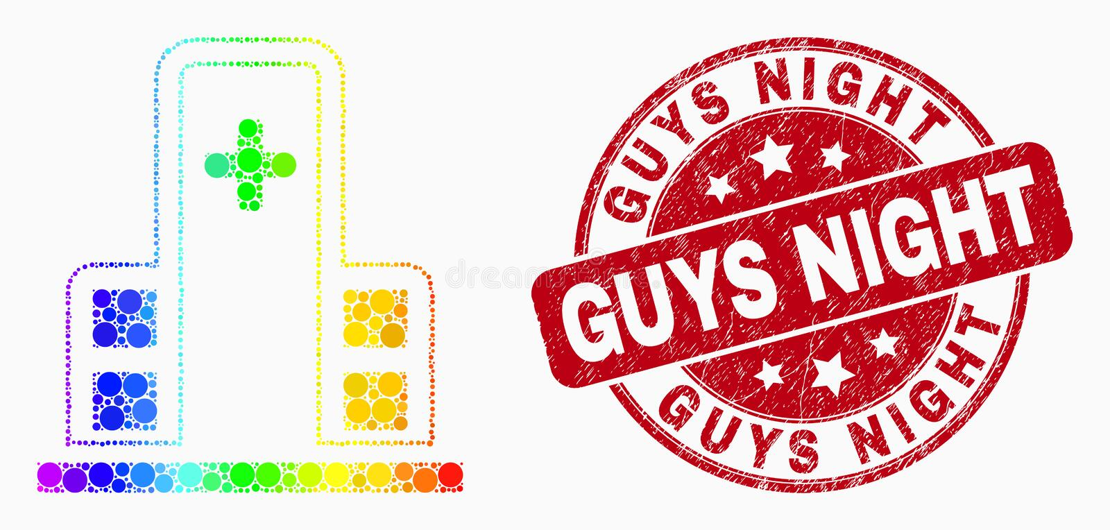 Vector Spectral Dotted Clinic Building Icon and Scratched Guys Night Watermark. Pixel spectrum clinic building mosaic icon and Guys Night seal stamp. Red vector vector illustration