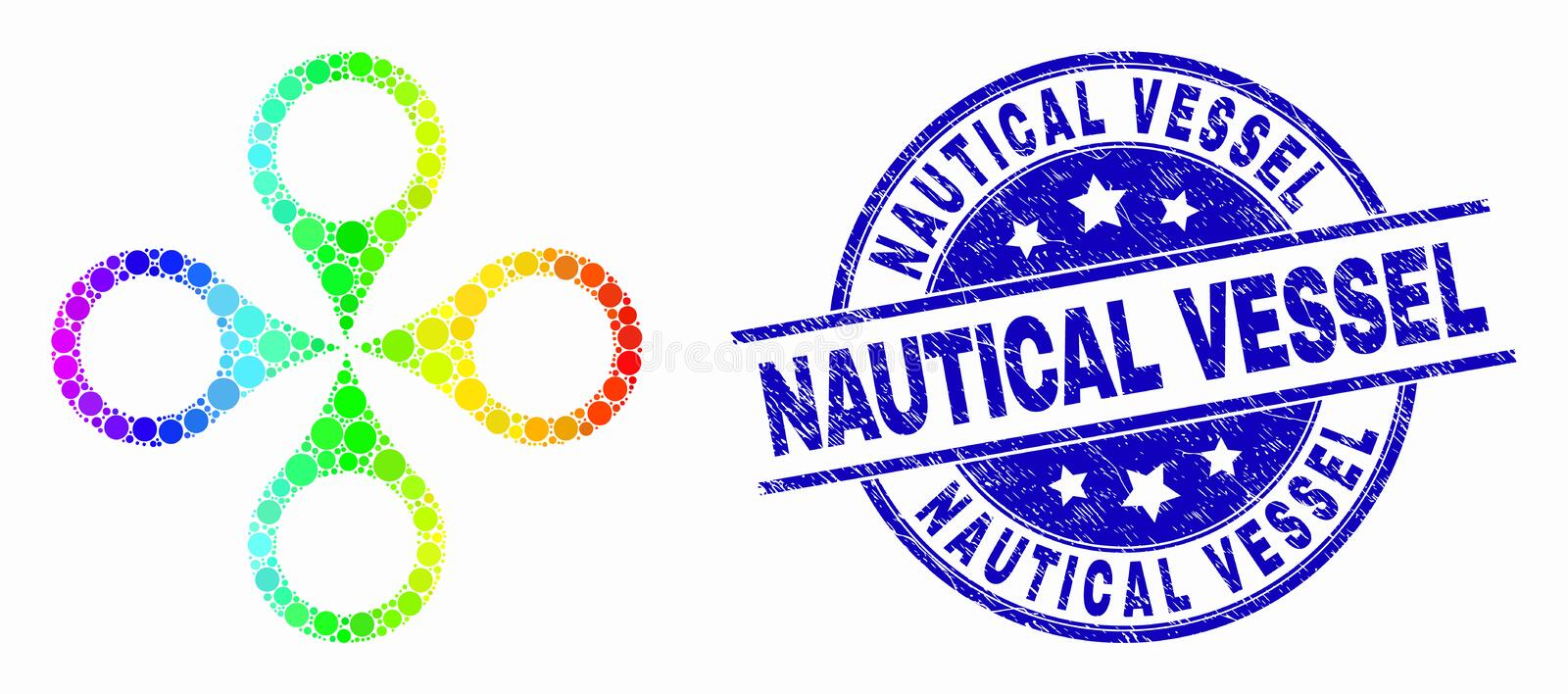 Vector Spectral Dotted Quadrocopter Icon and Grunge Nautical Vessel Stamp vector illustration