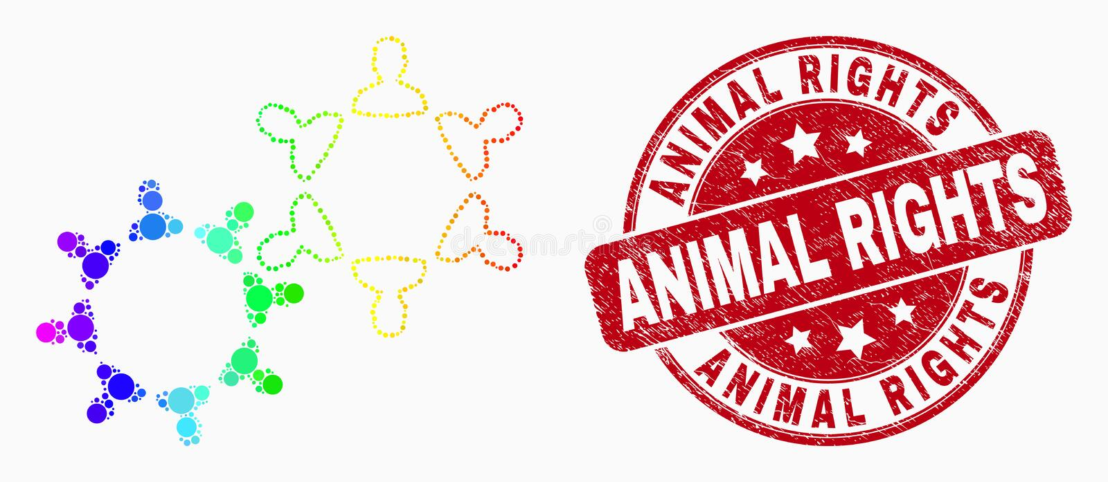 Vector Spectral Dotted User Collaboration Icon and Scratched Animal Rights Stamp stock illustration