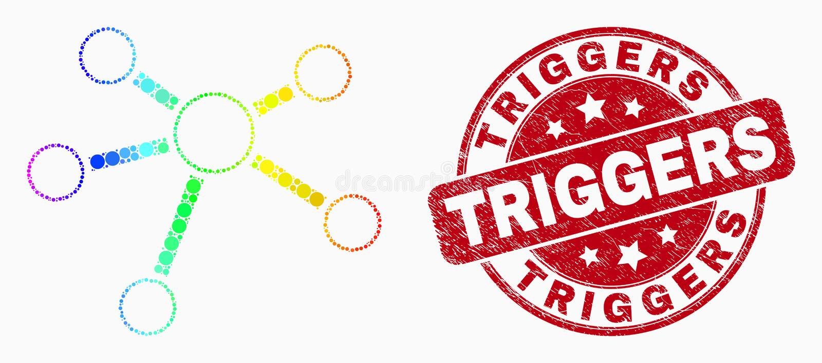 Vector Spectral Pixel Relation Links Icon and Scratched Triggers Stamp Seal. Dotted spectrum relation links mosaic icon and Triggers seal stamp. Red vector round vector illustration