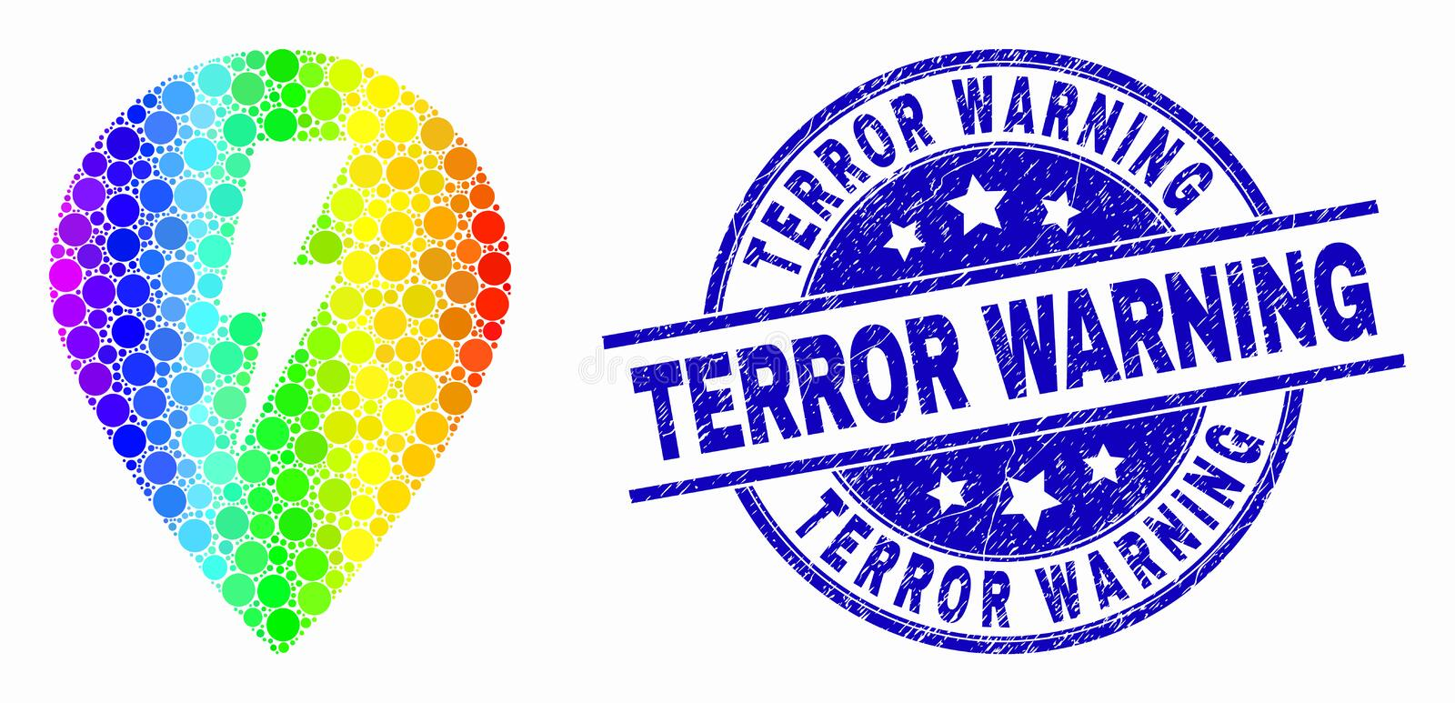 Vector Spectral Pixelated Electric Map Marker Icon and Scratched Terror Warning Watermark. Dot spectrum electric map marker mosaic pictogram and Terror Warning royalty free illustration
