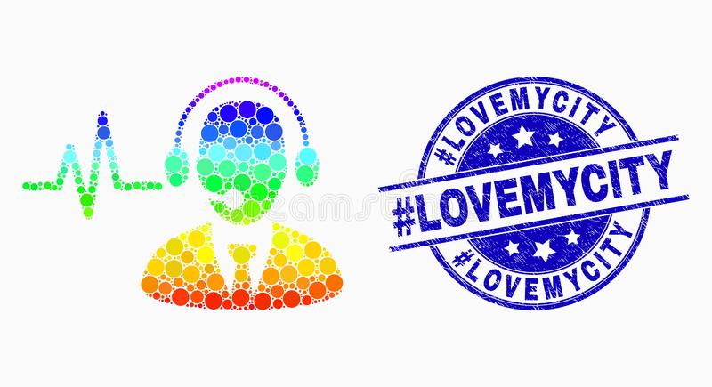Vector Spectral Pixelated Operator Sound Signal Icon and Scratched Hashtag Lovemycity Watermark stock illustration