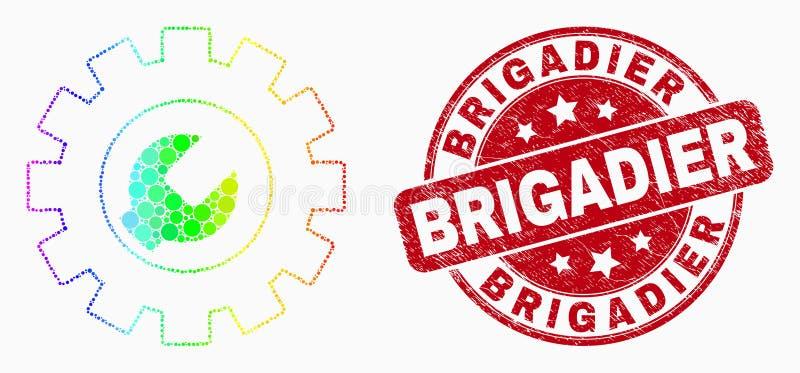 Vector Spectrale Dot Setup Tools Icon en Grunge Brigadegeneraal Seal vector illustratie