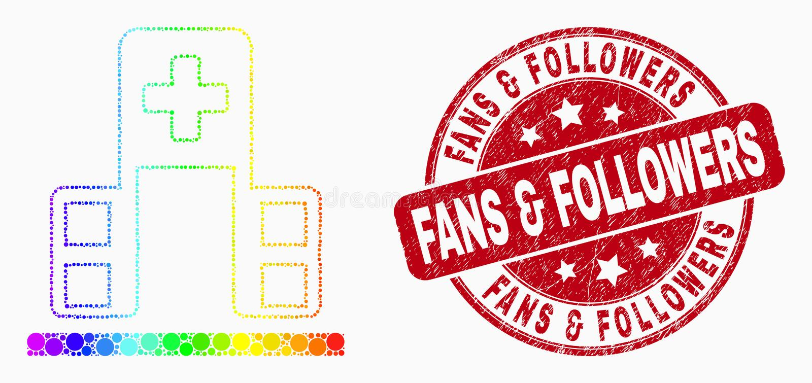 Vector Spectrum Dot Hospital Building Icon and Grunge Fans and Followers Stamp Seal stock illustration