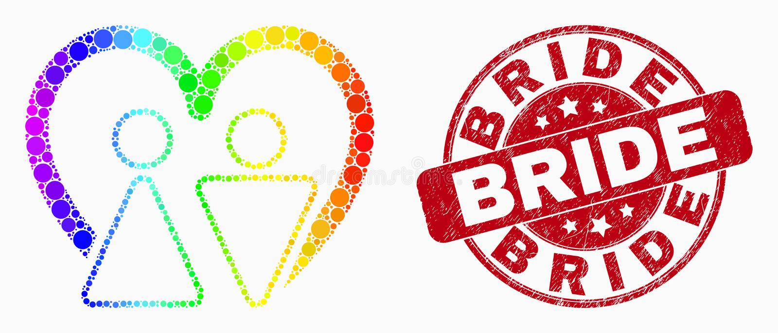 Vector Spectrum Dot Married Persons Icon and Distress Bride Seal. Pixel spectral married persons mosaic icon and Bride seal stamp. Red vector rounded textured royalty free illustration