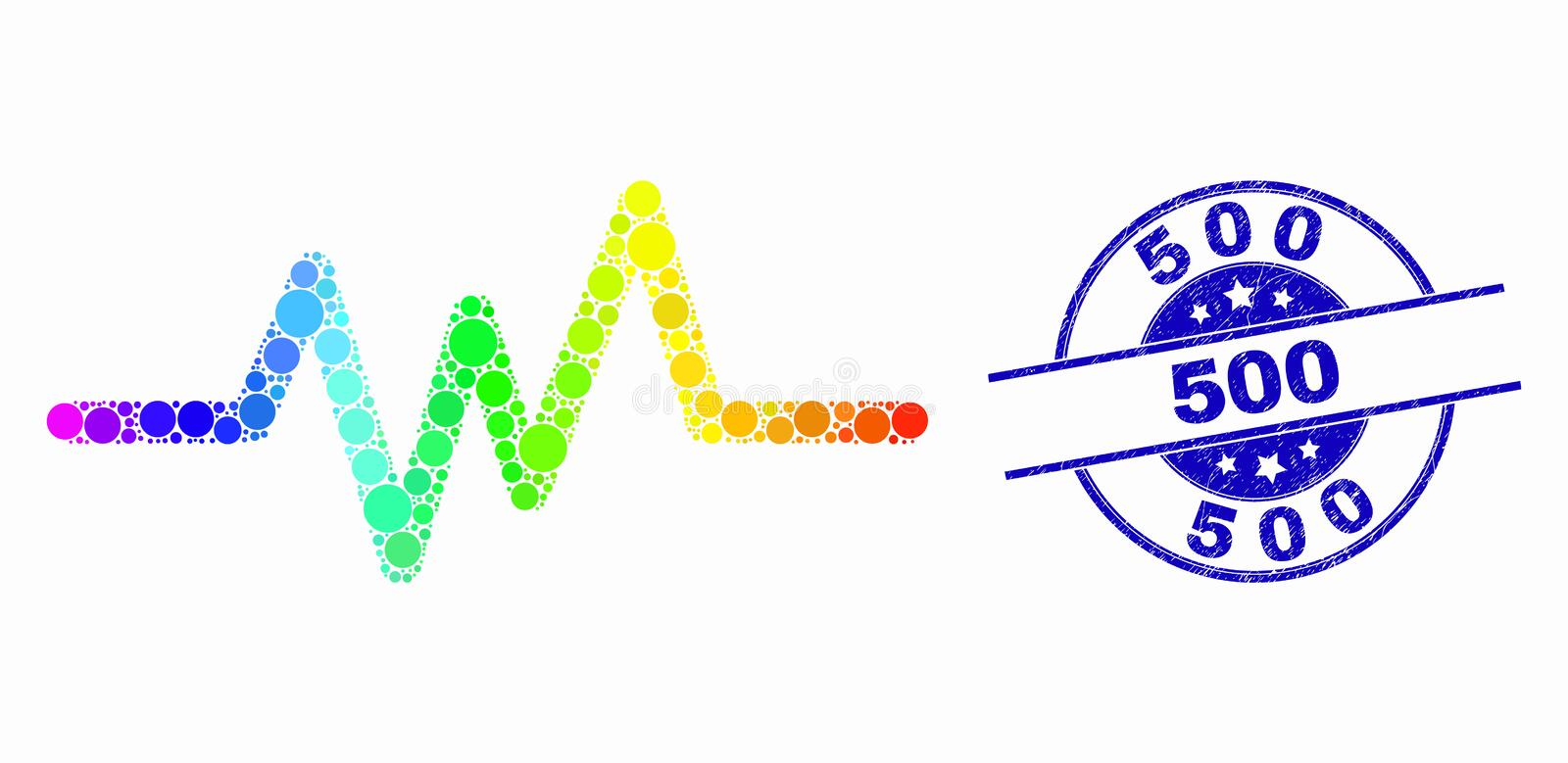 Vector Spectrum Dot Pulse Signal Icon and Distress 500 Stamp. Dotted rainbow gradiented pulse signal mosaic icon and 500 seal. Blue vector rounded distress seal stock illustration