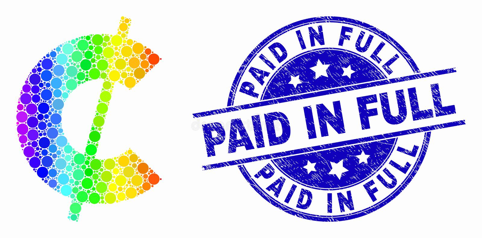 Vector Spectrum Dotted Cent Symbol Icon and Distress Paid in Full Stamp. Pixelated bright spectral cent symbol mosaic pictogram and Paid in Full seal stamp. Blue royalty free illustration