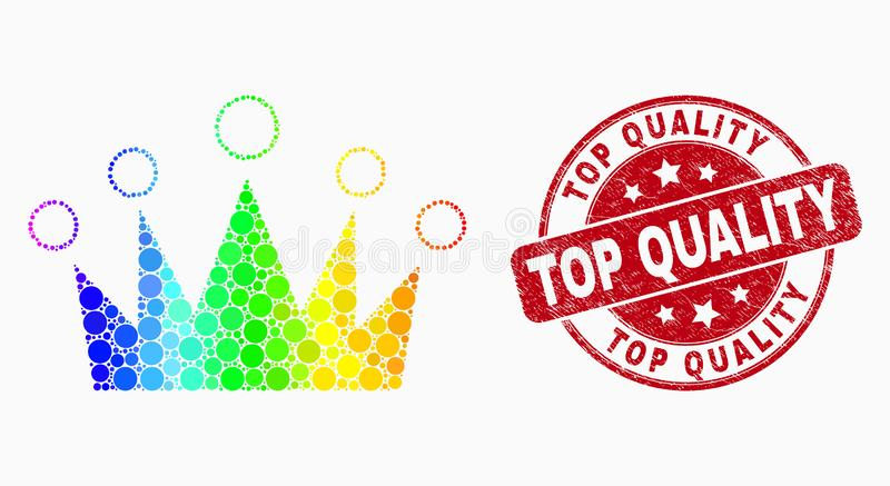 Vector Spectrum Dotted Crown Icon and Grunge Top Quality Watermark stock illustration